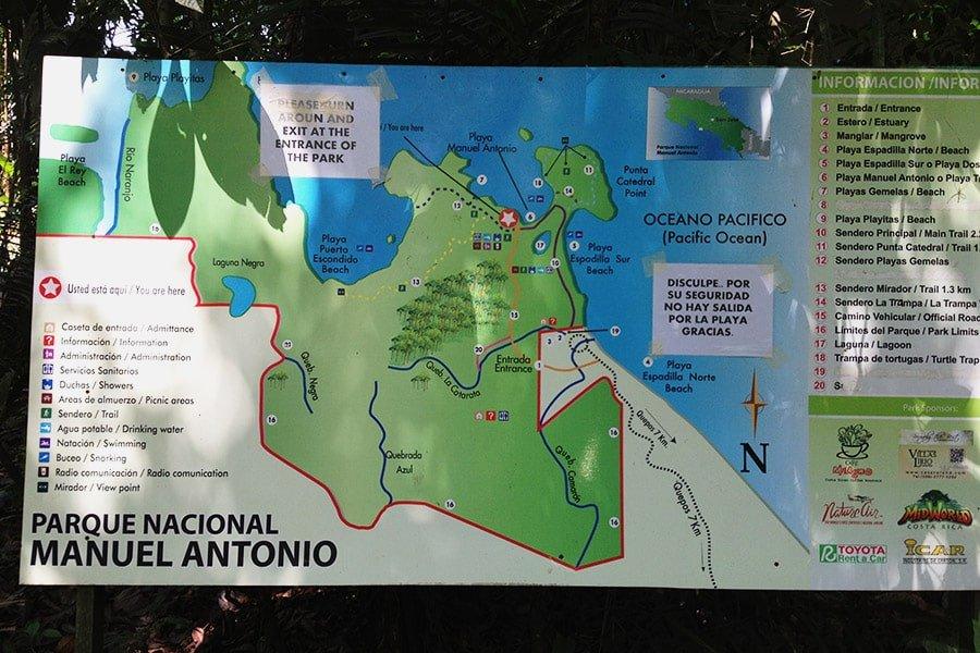 Mapa d'itineraris del Parc Nacional Manuel Antonio