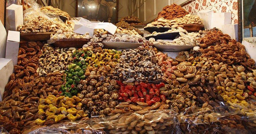 Pastes marroquines en un zoco del Marroc