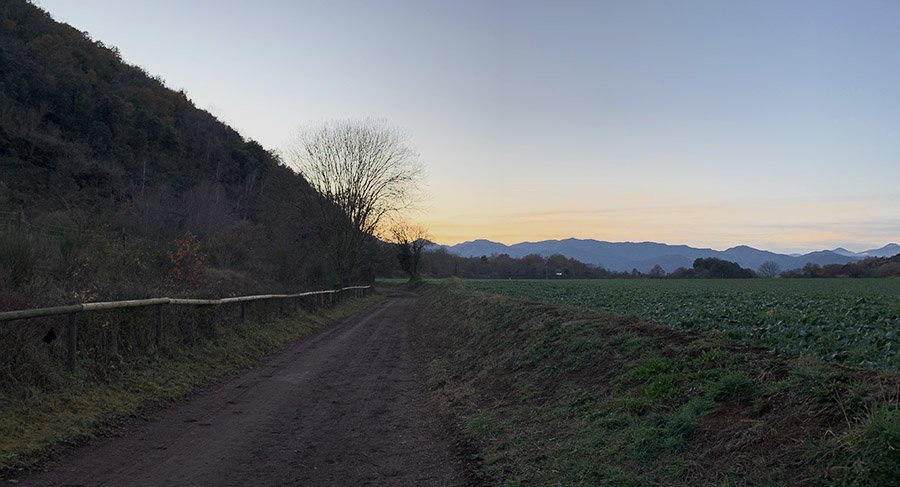 Acabant l'excursió al Parc Natural de la Zona Volcànica de la Garrotxa