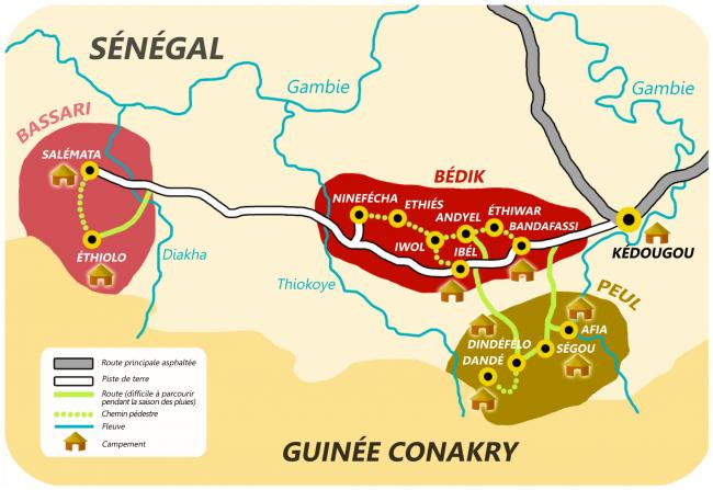 Mapa País Bassari amb les diferents ètnies